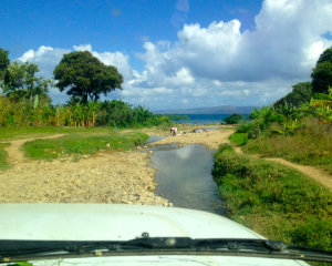 a road in haiti is also a river, and the washing machine